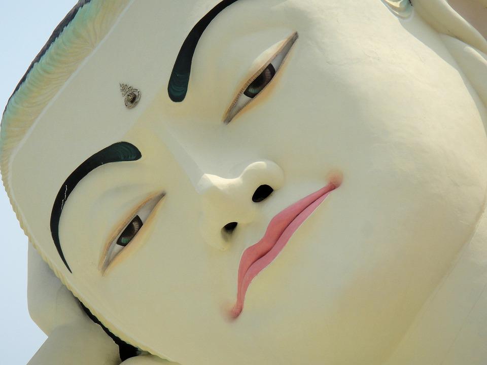 Buddha, Myanmar, Burma, Face, Serene, White