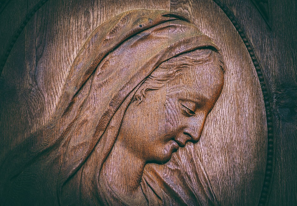 Maria, Wood, Face, Wood Carving, Wooden Structure, Old