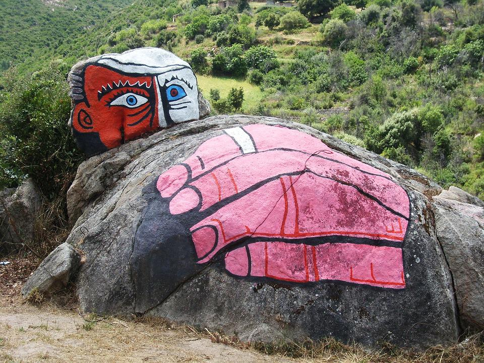 Street-art, Italy, Sardinia, Orgo Solo, Rock, Face