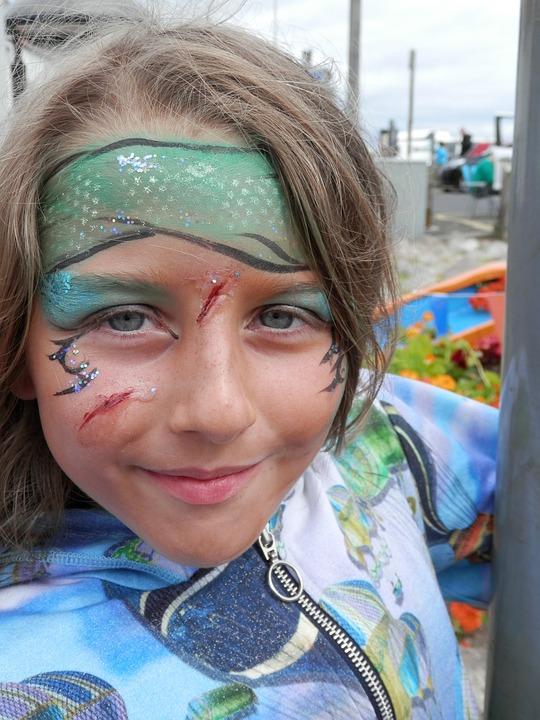 Child, Girl, Smiling, Facepaint, Face Paint, Fake Scar