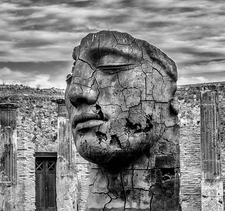 Head, Stone, Sculpture, Face, Human