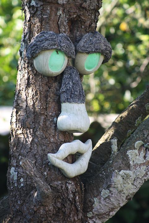 Tree, Face, Tortuous, Strange