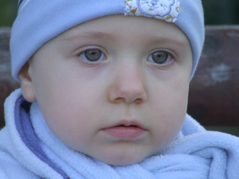 Face, Child, In The Blue, Beautiful, A Cap, Eyes, View