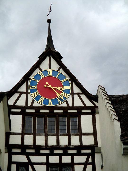 Fachwerkhaus, Old Town, Tower, Time Indicating