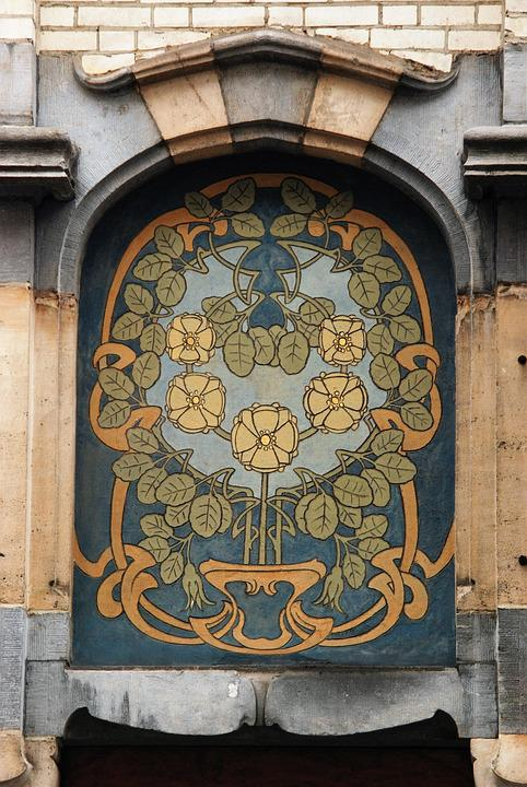 Art Nouveau, Nouveau, Facade, Facing Brick, Art