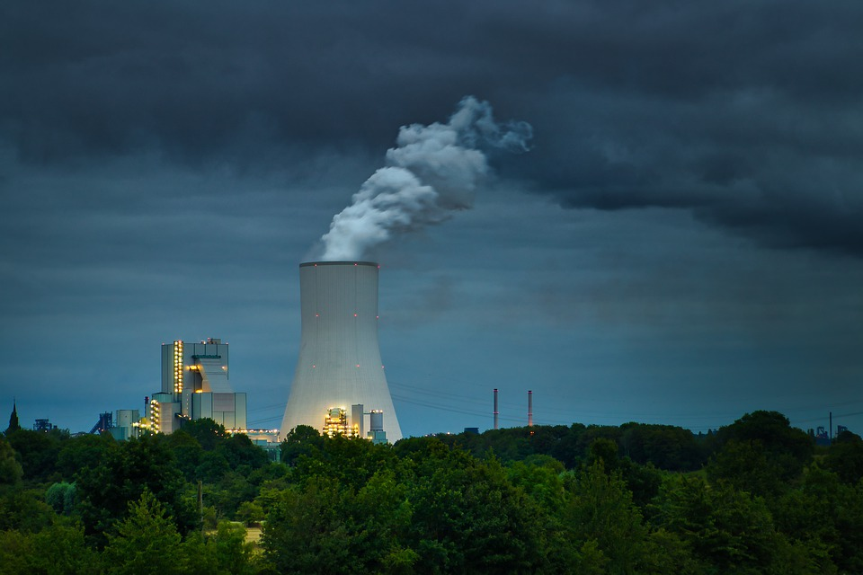 Factory, Powerplant, Landscape, Clouds, Dusk, Evening