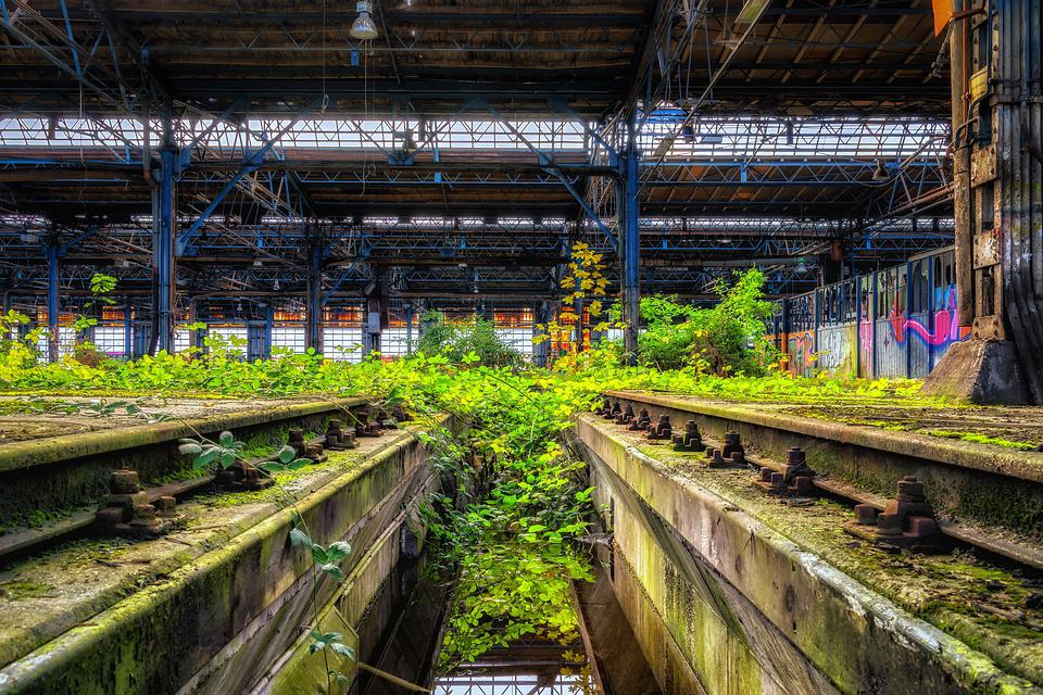 Lost Places, Hall, Rails, Pforphoto, Factory, Decay