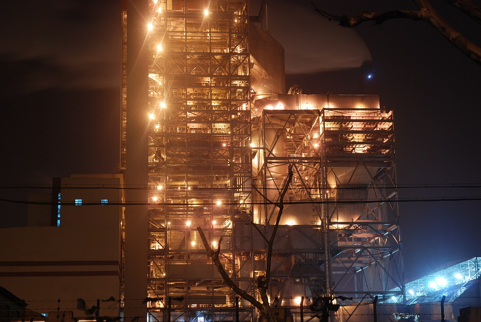Factory, Light, Brightly Lit, Industrial, Night