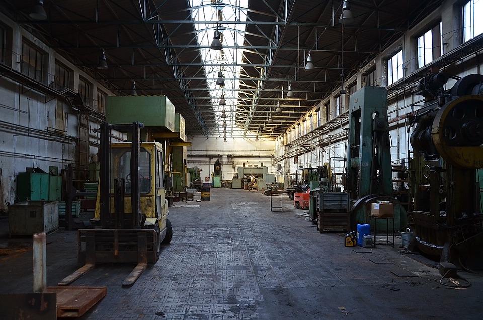 Factory, Machines, Lights, Window