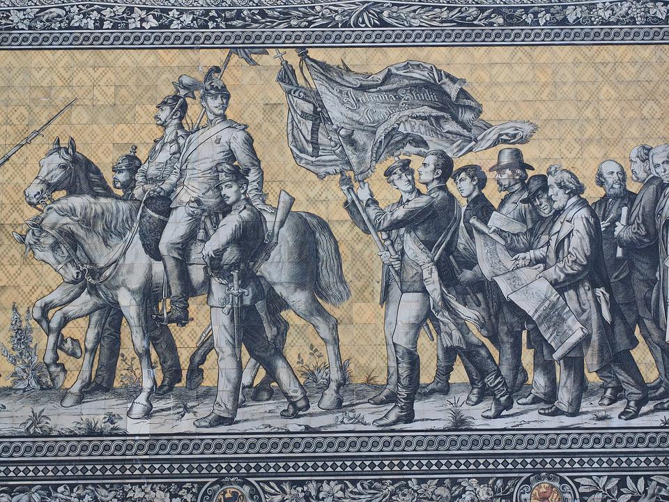 Princes, Cavalry, Detail, Man, Horse, Fahnenzug, Flag