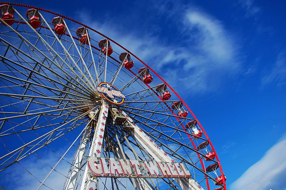 Big Wheel, Giant Wheel, Ferris, Blue Sky, Clouds, Fair