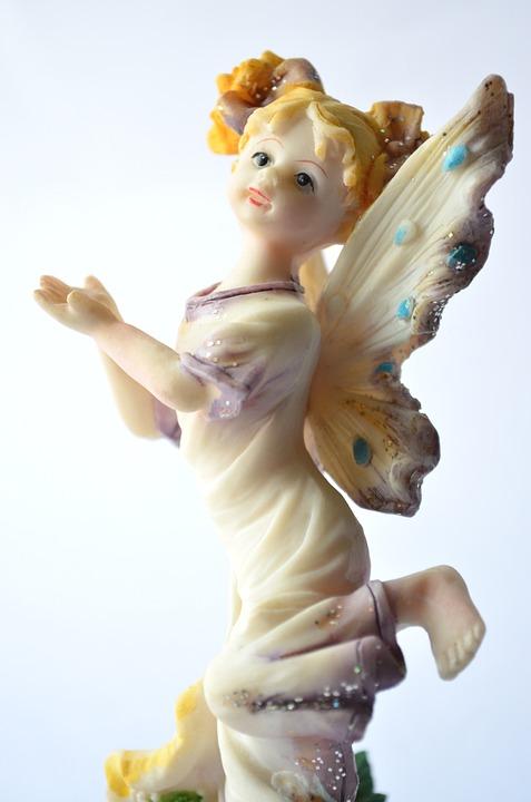 Fairy, Angel, White, Statue, Figurine, Feminine, Female