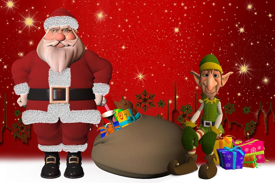 Santa Claus, Eleven, Elf, Figure, Gifts, Fairytale
