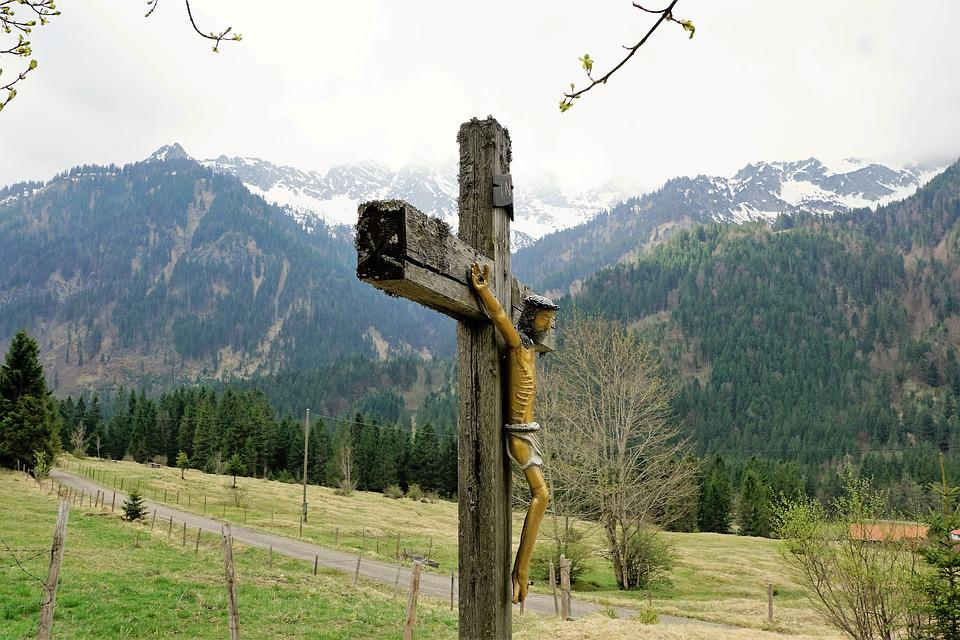 Cross, Allgäu, Behind Stone, Mountains, Nature, Faith