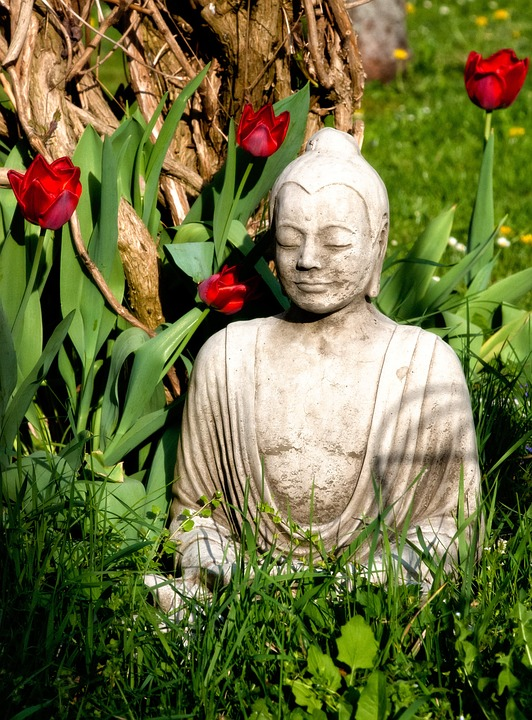 Buddha, Buddhism, Religion, Faith, Asia, Statue, Tulips