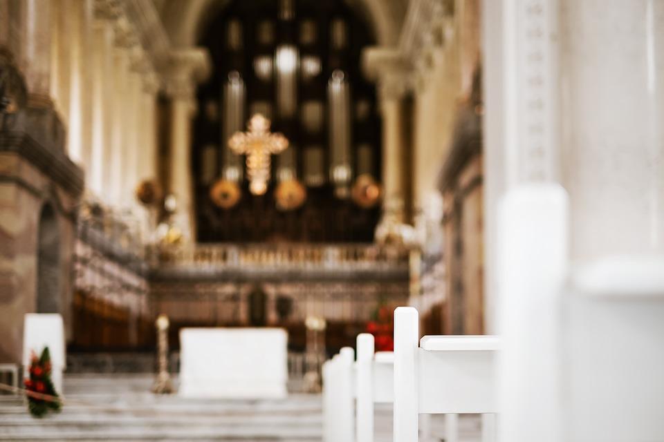 Church, Bank, Sit, Pray, Faith, Altar, Cross, Pew, Wood