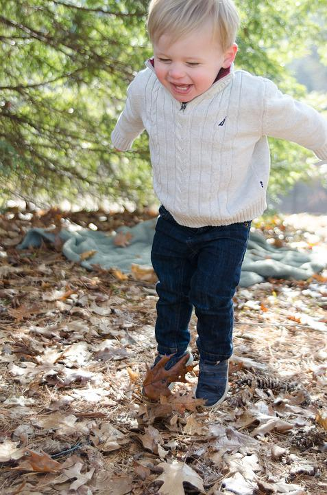 Jumping, Child, Kid, Boy, Happy, Fall, Toddler, Outside