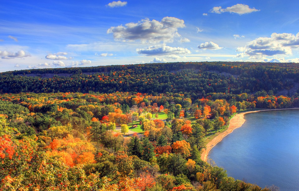 Colors, Fall, Autumn, Leaves, Forest, Sky, Clouds, Lake