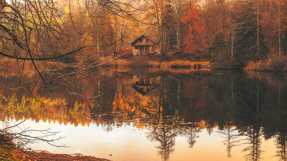 Autumn, Fall, Cottage, House, Home, Cabin, Lake, Water