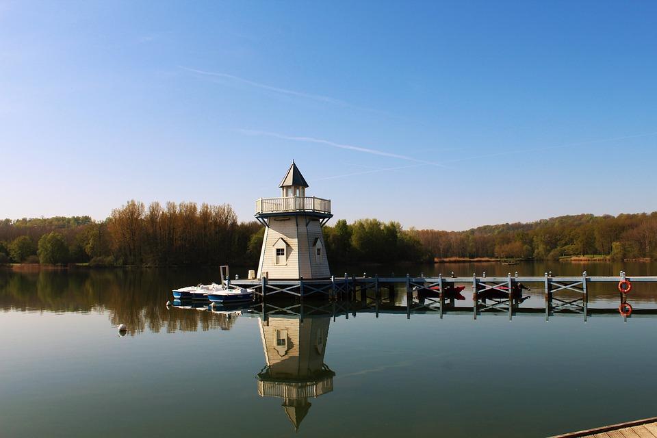 Lighthouse, Lake, Water, Bridge, Fall, Reflection, Calm