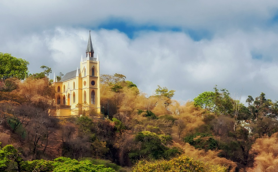 Spain, Church, Autumn, Fall, Sky, Clouds, Architecture