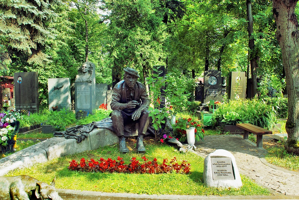 Moscow, Cemetery, Falls, Statue, Bronze, Silence