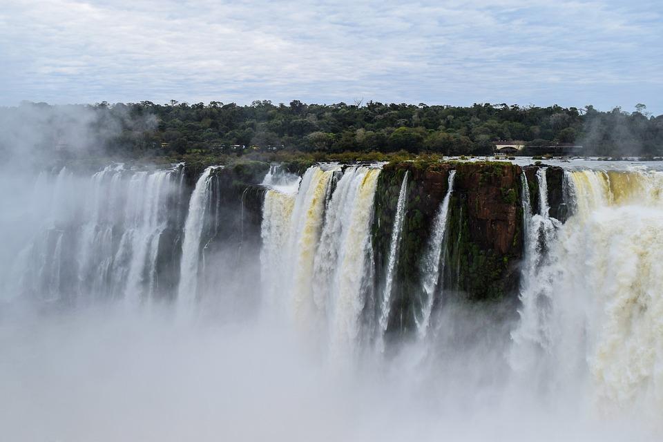 Falls, Landscape, Water, Nature, Iguazu, Vegetation