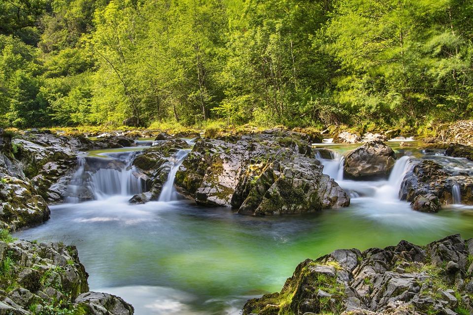 Waterfall, River, Nature, Falls, Cascades, Rocks, Moss
