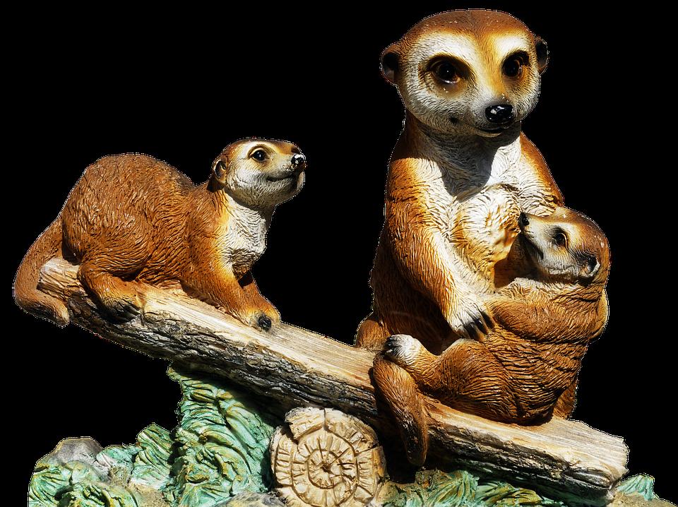 Meerkat, Ceramic, Group, Family, Figure, Deco