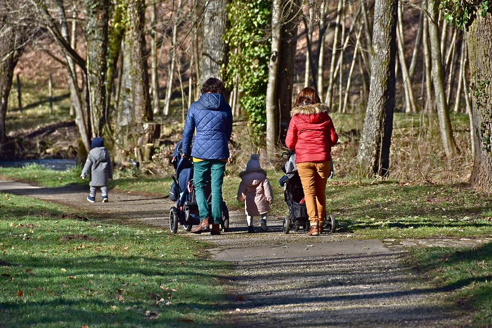 People, Walkers, Children, Park, Family, Mom, Nature