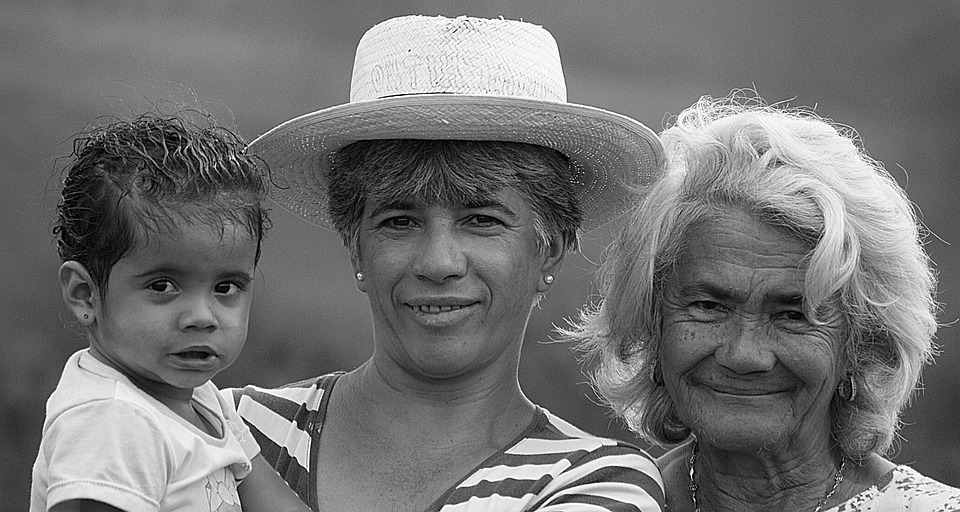Black And White, People, Girl, Lady, Adult, Family