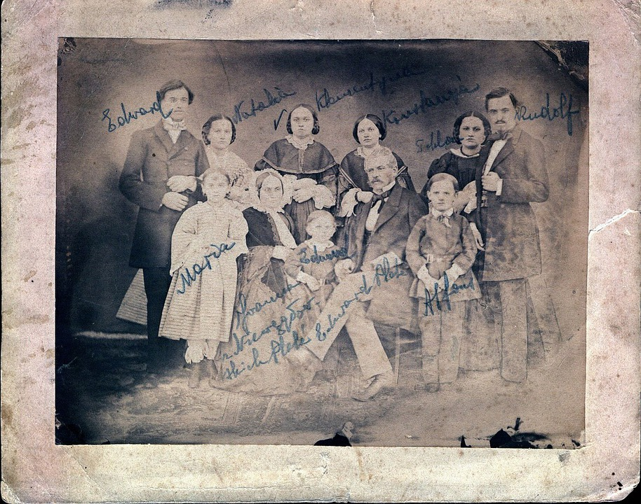 Old, Family, Portrait, Century, Plate, Collection
