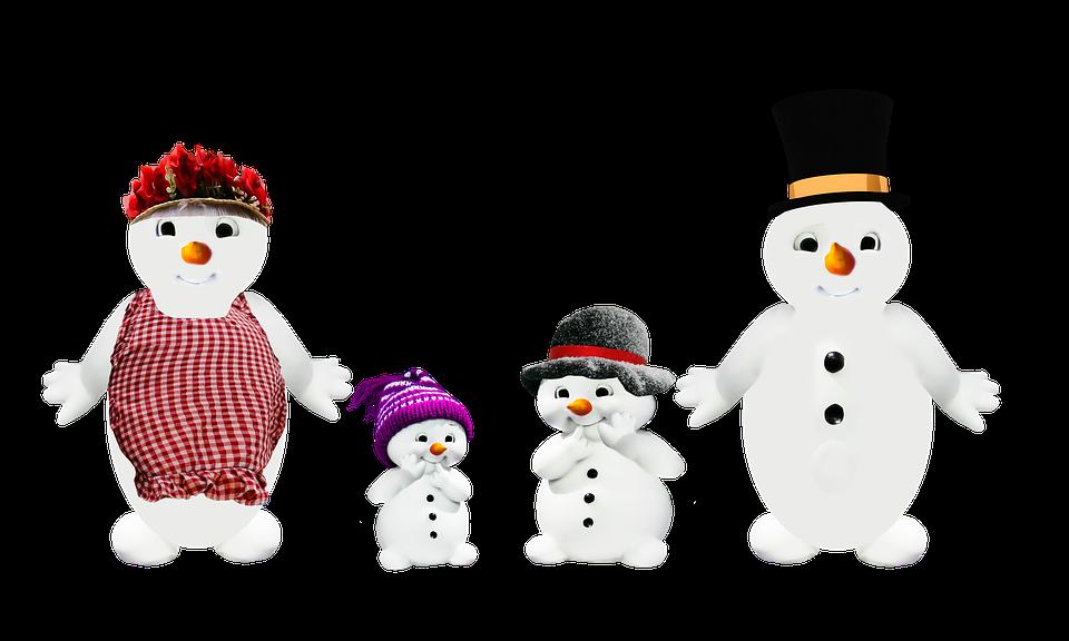 Snow Man, Family, Parents, Children, Winter, Png