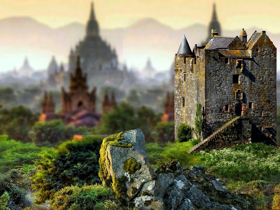 Pemandangan, Alam, Fantasi, Kastil, Rumput, Hijau, Daun