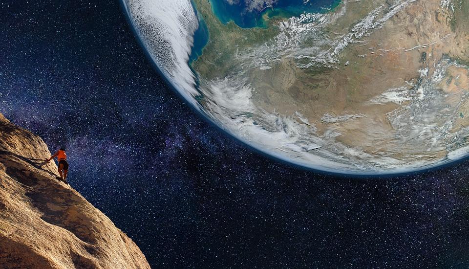 Climbing, Asteroid, Space, Earth, Milky Way, Fantasia