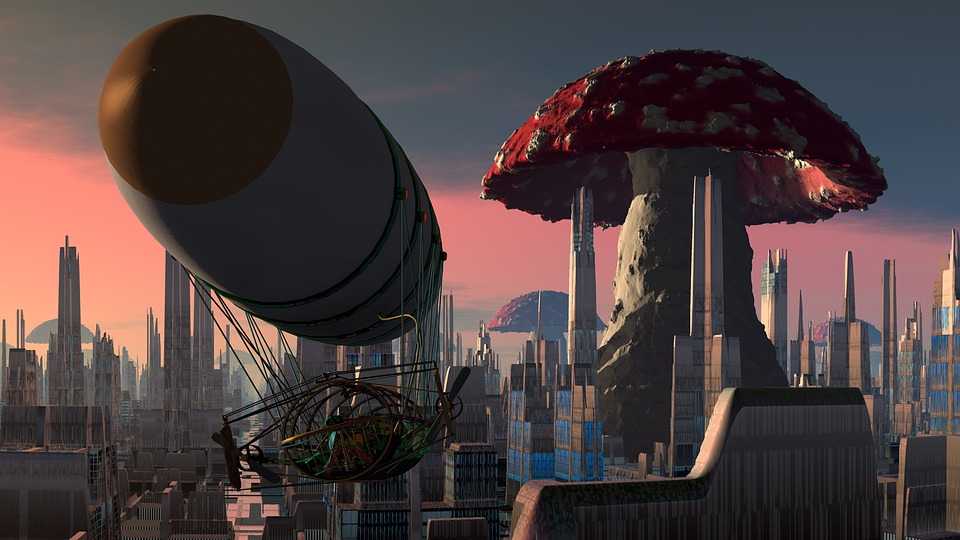 Airship, City, Mushroom, Steampunk, Fantasy, Skyscraper