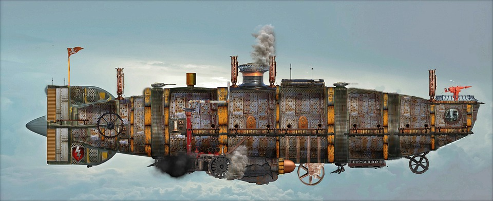 Steampunk, Airship, Zeppelin, Fantasy, Space