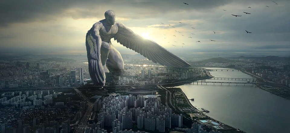 Fantasy, City, Angel, Giant, Mystical, Atmosphere