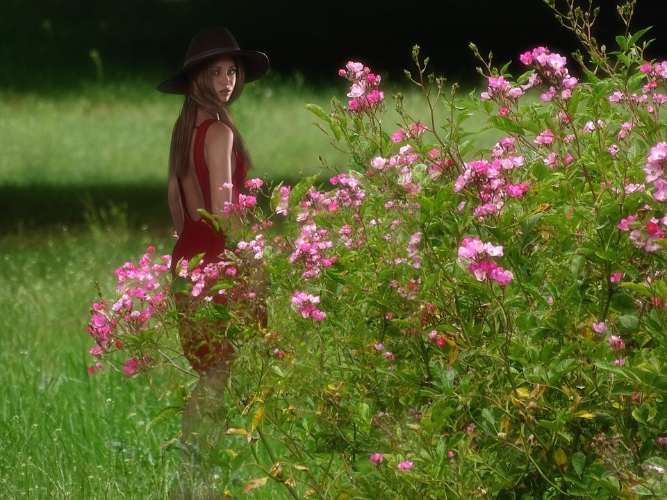 Fantasy, Flowers, Woman, Beautiful, Meadow, Background