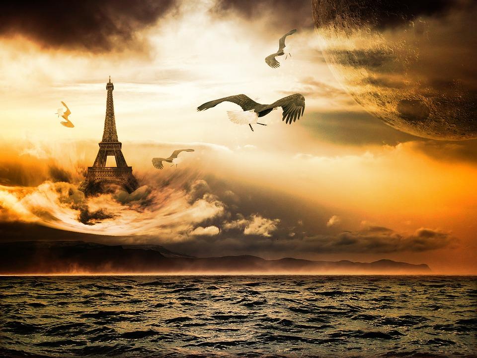 Fantasy, Eiffel Tower, Sea, Clouds, Sunset, Seagulls