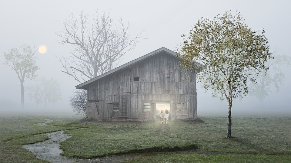 Fantasy, The Fog, Friends, Children, Tree, Cottage