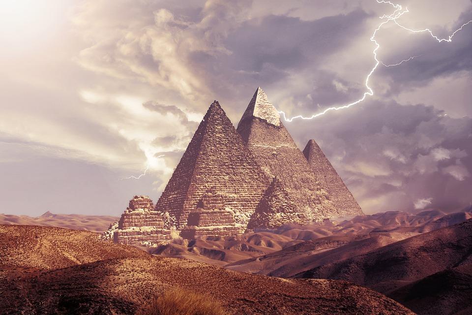 Pyramids, Desert, Sand, Egypt, Fantasy, Energy