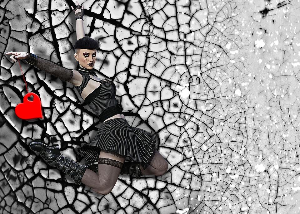 Girl, Gothic Girl, Fantasy, Design, Photoshop, Heart