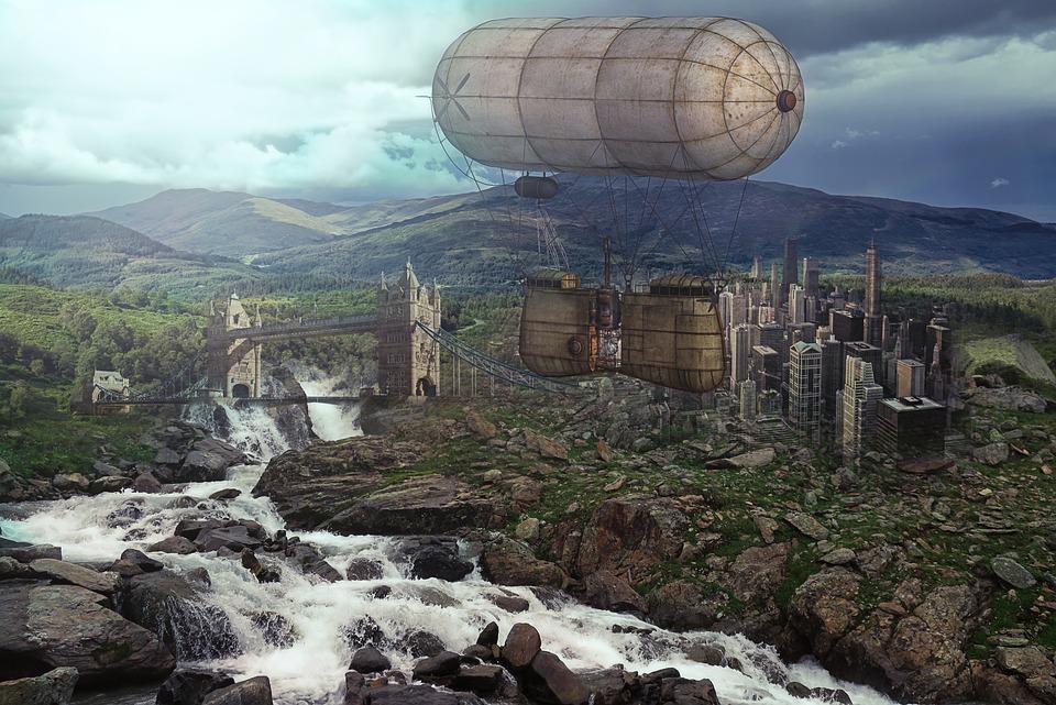 Steampunk, Balloonaerostat, Flying, Landscape, Fantasy