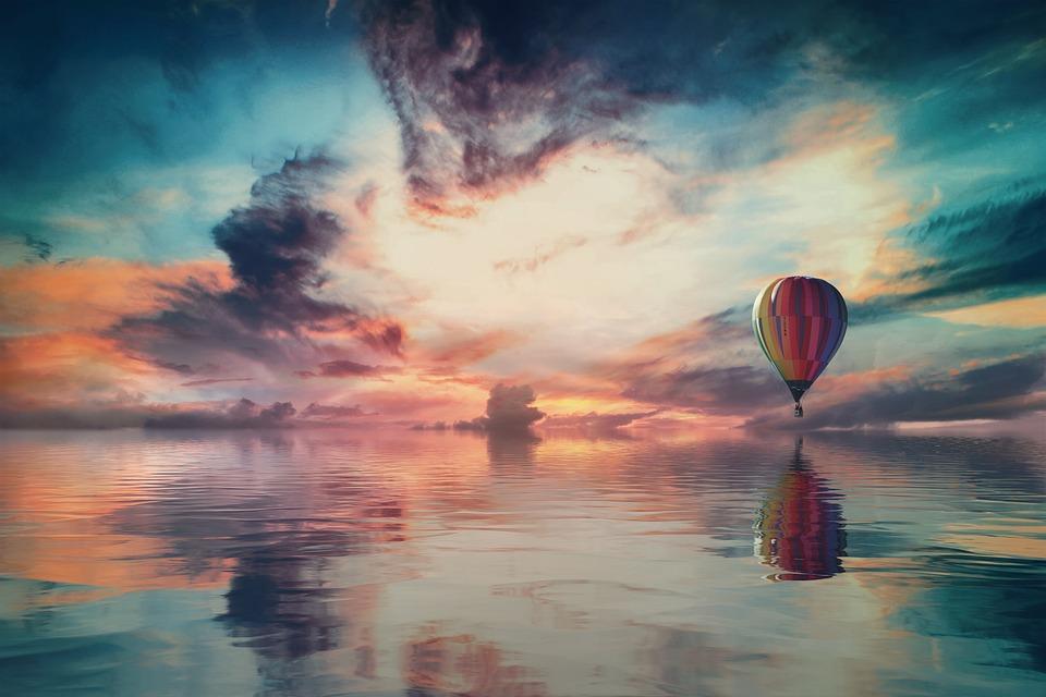 Landscape, Fantasy, Sky, Clouds, Reflection, Balloon