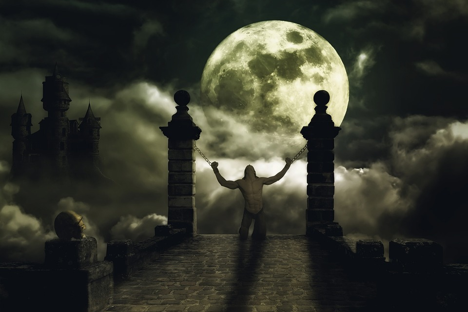 Moon, A Vampire, Night, Fantasy, Gloomy, Castle