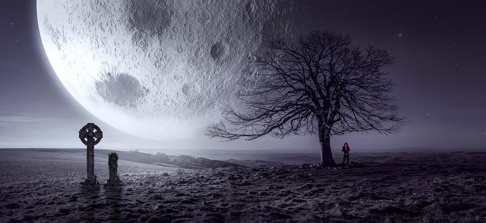 Fantasy, Moon, Tree, Cross, Cemetery, Mysterious