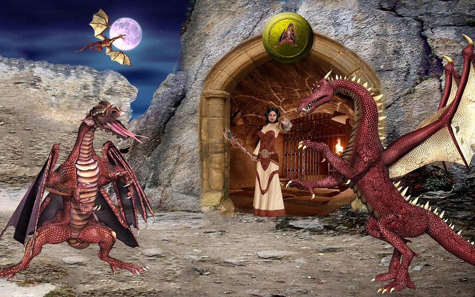 Fantasy, Dragons, Dragon Champion, Cave, Mystical