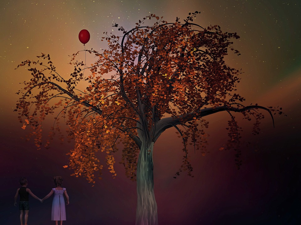 Children, Play, Tree, Balloon, Fairy Tales, Fantasy