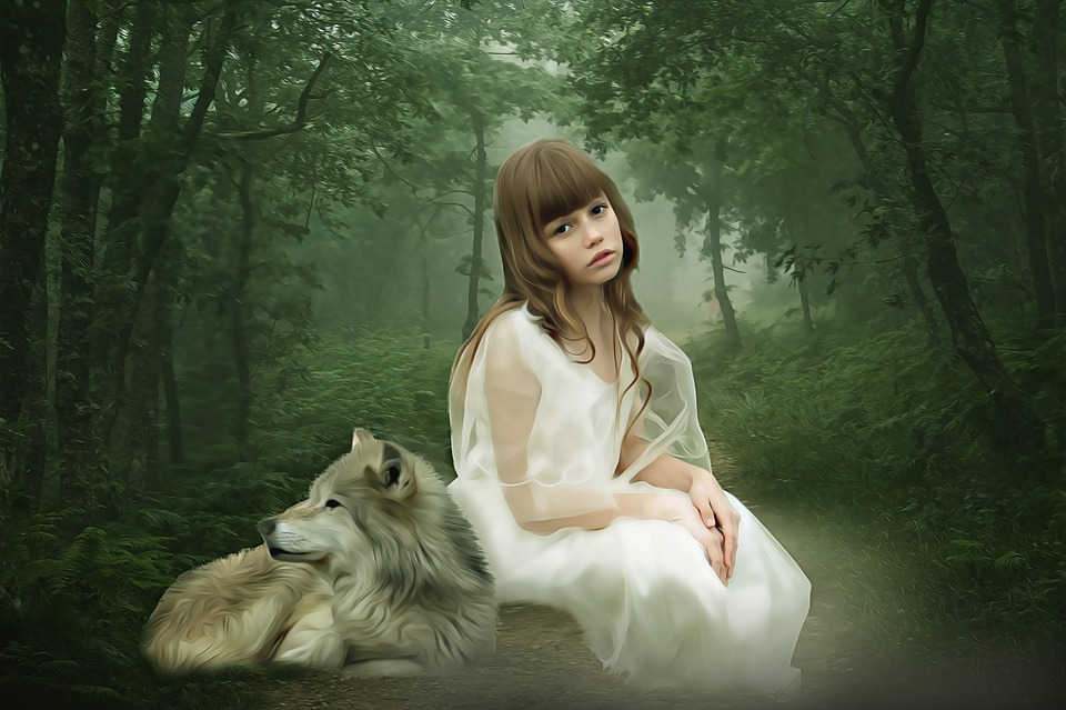 Fantasy, Fantasy Portrait, Girl, Wolf, Girl And Wolf